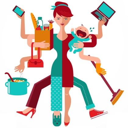 Super Mom - infographic of multitasking mother